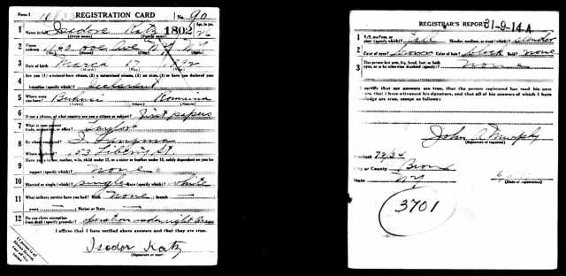 Katz, Isidor_World War I draft registration