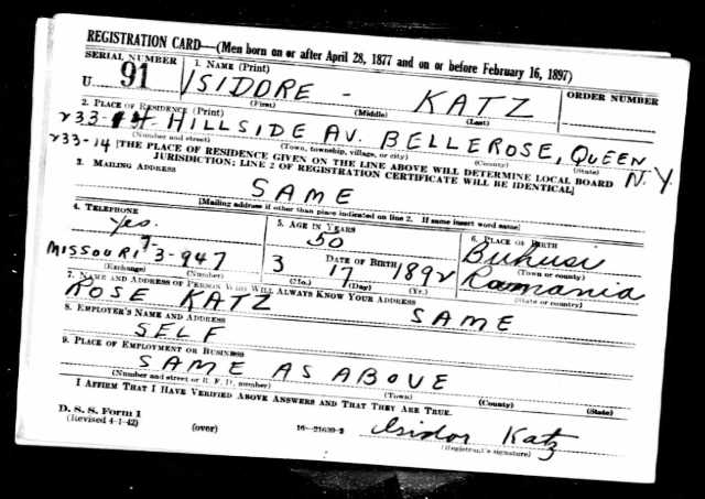 Katz, Isidor_World War II draft registration